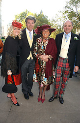 Left to right, MR & MRS VALENTINE LINDSAY, LADY AMABEL LINDSAY and LUDOVIC LINDSAY  at the wedding of Clementine Hambro to Orlando Fraser at St.Margarets Westminster Abbey, London on 3rd November 2006.<br />