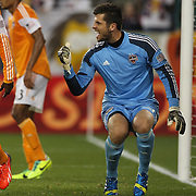 Goalkeeper Tally Hall, Houston Dynamo, reacts after a great save during the New York Red Bulls V Houston Dynamo, Major League Soccer second leg of the Eastern Conference Semifinals match at Red Bull Arena, Harrison, New Jersey. USA. 6th November 2013. Photo Tim Clayton