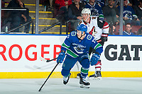 KELOWNA, BC - SEPTEMBER 29: Nikolay Goldobin #77 of the Vancouver Canucks skates during second period against the Arizona Coyotes  at Prospera Place on September 29, 2018 in Kelowna, Canada. (Photo by Marissa Baecker/NHLI via Getty Images)  *** Local Caption *** Nikolay Goldobin