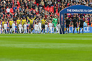 The teams take to the pitch during the The FA Cup match between Crystal Palace and Watford at Wembley Stadium, London, England on 24 April 2016. Photo by Shane Healey.