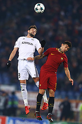 December 5, 2017 - Rome, Italy - Michel of Qarabag and Diego Perotti of Roma during the UEFA Champions League Group C football match AS Roma vs FK Qarabag on December 5, 2017 at the Olympic stadium in Rome, Italy. (Credit Image: © Matteo Ciambelli/NurPhoto via ZUMA Press)