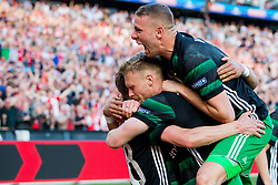 Jens Toornstra of Feyenoord, Nicolai Jorgensen of Feyenoord, Sven van Beek of Feyenoord during the Dutch Toto KNVB Cup Final match between AZ Alkmaar and Feyenoord on April 22, 2018 at the Kuip stadium in Rotterdam, The Netherlands.