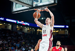 Rolands Smits of Latvia during basketball match between National Teams of Latvia and Montenegro at Day 11 in Round of 16 of the FIBA EuroBasket 2017 at Sinan Erdem Dome in Istanbul, Turkey on September 10, 2017. Photo by Vid Ponikvar / Sportida