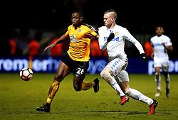 Uche Ikpeazu of Cambridge United takes on Pontus Jansson of Leeds United - Mandatory by-line: Robbie Stephenson/JMP - 09/01/2017 - FOOTBALL - Cambs Glass Stadium - Cambridge, England - Cambridge United v Leeds United - FA Cup third round