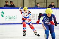 Graz, Austria - 2017 March 24: Dzhamila Chechkova from SO from Russia (157) competes in Speed Skating 333 meters race while Special Olympics World Winter Games Austria 2017 at Icestadium Graz Liebenau on March 24, 2017 in Graz, Austria.<br /> <br /> Mandatory credit:<br /> Photo by © Adam Nurkiewicz / Mediasport<br /> <br /> Adam Nurkiewicz declares that he has no rights to the image of people at the photographs of his authorship.<br /> <br /> Picture also available in RAW (NEF) or TIFF format on special request.<br /> <br /> Any editorial, commercial or promotional use requires written permission from the author of image.<br /> <br /> Image can be used in the press when the method of use and the signature does not hurt people on the picture.