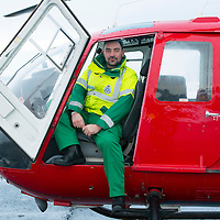SCAA..Scotland's Charity Air Ambulance have started to train the five paramedics who will man the new Air Ambulance to be based in Perth, pictured is paramedic Alex Holden from Falkirk in a Bolkow 105 from Bond Aviation Services who have been chosen to provice the aircraft for SCAA....24.01.13<br /> For further info contact Maureen Young on 07778 779888<br /> Picture by Graeme Hart.<br /> Copyright Perthshire Picture Agency<br /> Tel: 01738 623350  Mobile: 07990 594431