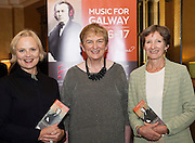 Claire McLoughlin, Anne O'Maile, Chair and Claire Cuddy Music for Galway in Hotel Meyrick for the launch of Music for Galway's new International Concert Season 'Aimez-vous Brahms?' opening on September 28th and running until May 18th including main concert series, Lunchtime series and Midwinter Festival.  . Photo: xposure.