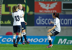 LLANELLI, WALES - Saturday, September 15, 2012: Scotland's Kim Little celebrates scoring the second goal against Wales during the UEFA Women's Euro 2013 Qualifying Group 4 match at Parc y Scarlets. (Pic by David Rawcliffe/Propaganda)