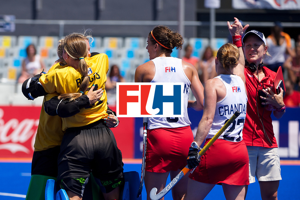 RIO 2016 Olympic qualification, Hockey, Women, match for 5th place, Spain vs United States of America :  team USA celebrates its 5th place, probably qualified to Rio