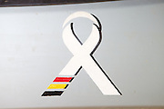 The fistula ribbon on the bonnet of the fistula mini bus parked at Kitovu Hospital, Uganda.