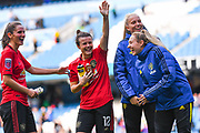Manchester United Women midfielder Hayley Ladd (12) waves to fans during the FA Women's Super League match between Manchester City Women and Manchester United Women at the Sport City Academy Stadium, Manchester, United Kingdom on 7 September 2019.