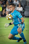 Minnesota United goalkeeper Vito Mannone (1) defends the goal against the LAFC during an MLS soccer match, Sunday Sept. 1 2019, in Los Angeles. (Ed Ruvalcaba/Image of Sport)