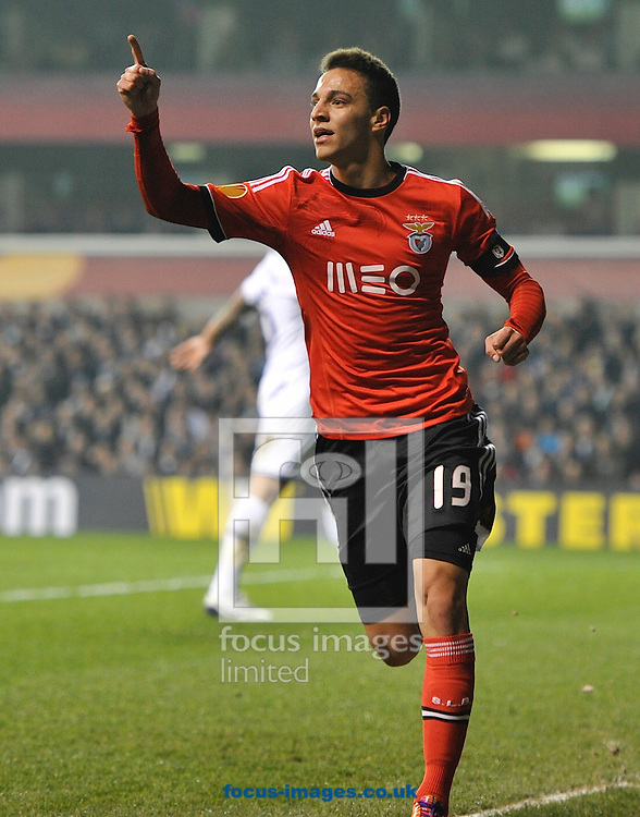 Rodrigo of Benfica celebrates his goal to make it 0-1 during the UEFA Europa League match at White Hart Lane, London<br /> Picture by Alan Stanford/Focus Images Ltd +44 7915 056117<br /> 13/03/2014