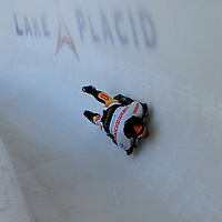 28 February 2007:  Peter Van Wees of the Netherlands in turn 18 the 3rd run at the Men's Skeleton World Championships competition on February 28 at the Olympic Sports Complex in Lake Placid, NY.