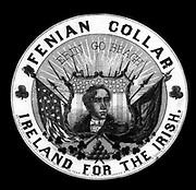 Fenian Collar, Ireland for the Irish.  Advertisement label for Fenian collars showing head-and-shoulders portrait of Robert Emmet, Irish patriot.  c1866.