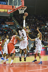 25.02.2014, Audi Dome, Muenchen, GER, Beko Basketball BL, FC Bayern Muenchen Basketball vs Artland Dragons, 22. Runde, im Bild Deon Thompson (FC Bayern Muenchen Basketball), Anthony King (Artland Dragons), Bryce Taylor (FC Bayern Muenchen Basketball), Lawrence Hill (Artland Dragons), v li Aktion // during the Beko Basketball Bundes league 22. round match between FC Bayern Munich Basketball and Artland Dragons at the Audi Dome in Muenchen, Germany on 2014/02/25. EXPA Pictures © 2014, PhotoCredit: EXPA/ Eibner-Pressefoto/ Buthmann<br /> <br /> *****ATTENTION - OUT of GER*****
