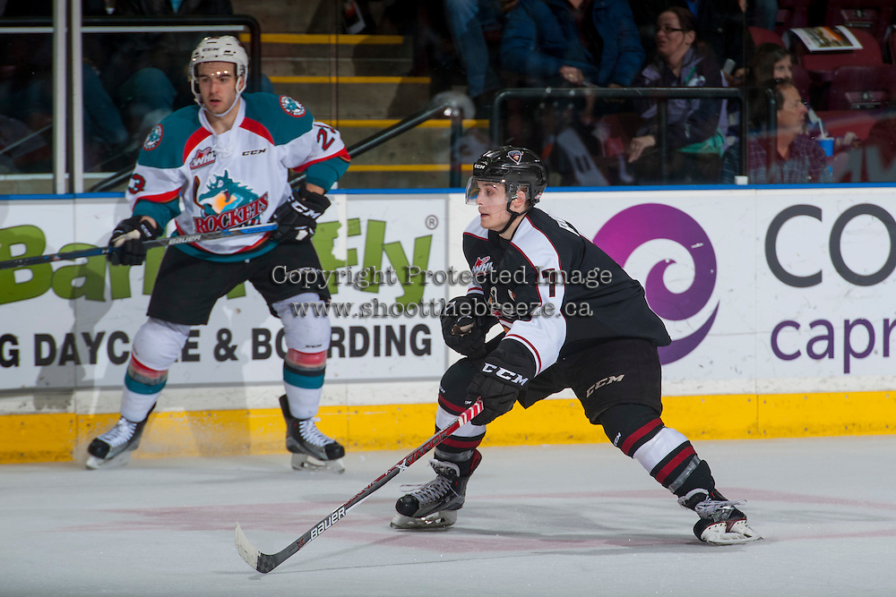 KELOWNA, CANADA - FEBRUARY 10: Ty Ronning #7 of the Vancouver Giants blocks a pass against the Kelowna Rockets on February 10, 2017 at Prospera Place in Kelowna, British Columbia, Canada.  (Photo by Marissa Baecker/Shoot the Breeze)  *** Local Caption ***