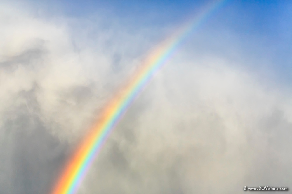 Rainbow popping out of the clouds into a clear blue sky.