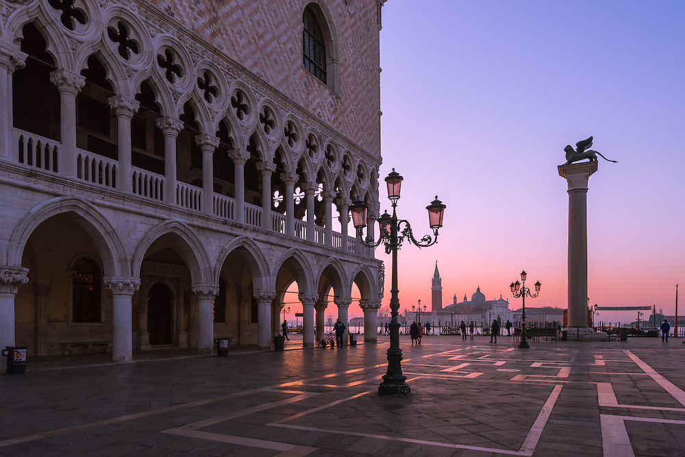 sunrise in st mark's square in vencie with the Cimitero di San Michele