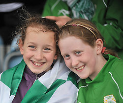 Supporting their colours for Castlebar Celtic at the Connaught Cup Final at Milebush were Grace and Ali Ryan.<br /> Pic Conor McKeown