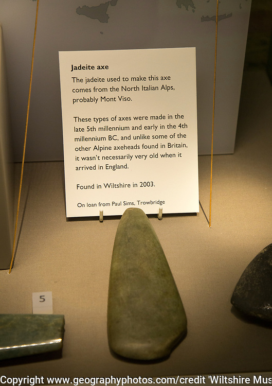 Display of neolithic Jadeite axe from north Italian Alps. With permission of Wiltshire Museum, Devizes, England, UK.