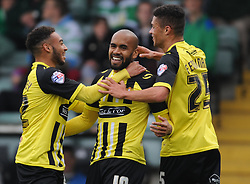 Dagenham celebrate their first goal scored by Kane Ferdinand (right).  - Mandatory byline: Alex Davidson/JMP - 07966 386802 - 10/10/2015 - FOOTBALL - Huish Park - Yeovil, England - Yeovil v Dagenham - Sky Bet League Two