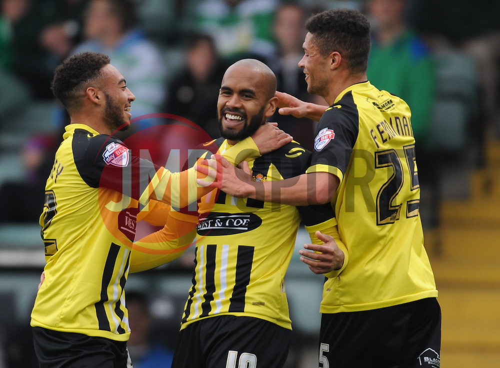 Dagenham celebrate their first goal scored by Kane Ferdinand (right).  - Mandatory byline: Alex Davidson/JMP - 07966 386802 - 10/10/2015 - FOOTBALL - Huish Park - Yeovil, England - Yeovil v Dagenham - Sky Bet League Two