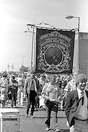 Houghton Main Branch banner on the 99th Yorkshire Miners Gala. 1986 Doncaster.