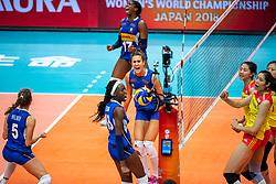 19-10-2018 JPN: Semi Final World Championship Volleyball Women day 18, Yokohama<br /> China - Italy / Ofelia Malinov #5 of Italy, Paola Ogechi Egonu #18 of Italy, Anna Danesi #11 of Italy, Miryam Fatime Sylla #17 of Italy, Ting Zhu #2 of China