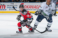 KELOWNA, CANADA - MARCH 18: Dillon Dube #19 of Kelowna Rockets skates against the Seattle Thunderbirds on March 18, 2015 at Prospera Place in Kelowna, British Columbia, Canada.  (Photo by Marissa Baecker/Shoot the Breeze)  *** Local Caption *** Dillon Dube;