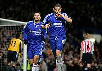 Photo: Tom Dulat/Sportsbeat Images.<br /> <br /> Chelsea v Sunderland. The FA Barclays Premiership. 08/12/2007.<br /> <br /> Chelsea's Frank Lampard (R) and Andriy Shevchenko (L) celebrate Lampards penalty kick. Chelsea leads 2-0.