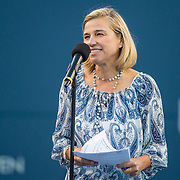August 22, 2016, New Haven, Connecticut: <br /> Tournament Director Anne Worcester speaks during the Opening Ceremonies on Day 4 of the 2016 Connecticut Open at the Yale University Tennis Center on Monday August  22, 2016 in New Haven, Connecticut. <br /> (Photo by Billie Weiss/Connecticut Open)