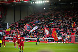 LIVERPOOL, ENGLAND - Saturday, November 30, 2019: Liverpool supporters on the Spion Kop before the FA Premier League match between Liverpool FC and Brighton & Hove Albion FC at Anfield. (Pic by David Rawcliffe/Propaganda)