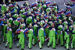 South Korea, PyeongChang - 2018 February 09: Slovenia Olympic Team during the Parade of Nations while Opening Ceremony of The 2018 PyeongChang Olympic Winter Games at PyeongChang Olympic Stadium on February 09, 2018 in PyeongChang, South Korea.<br /> <br /> Mandatory credit:<br /> Photo by © Adam Nurkiewicz<br /> <br /> Adam Nurkiewicz declares that he has no rights to the image of people at the photographs of his authorship.<br /> <br /> Picture also available in RAW (NEF) or TIFF format on special request.<br /> <br /> Any editorial, commercial or promotional use requires written permission from the author of image.