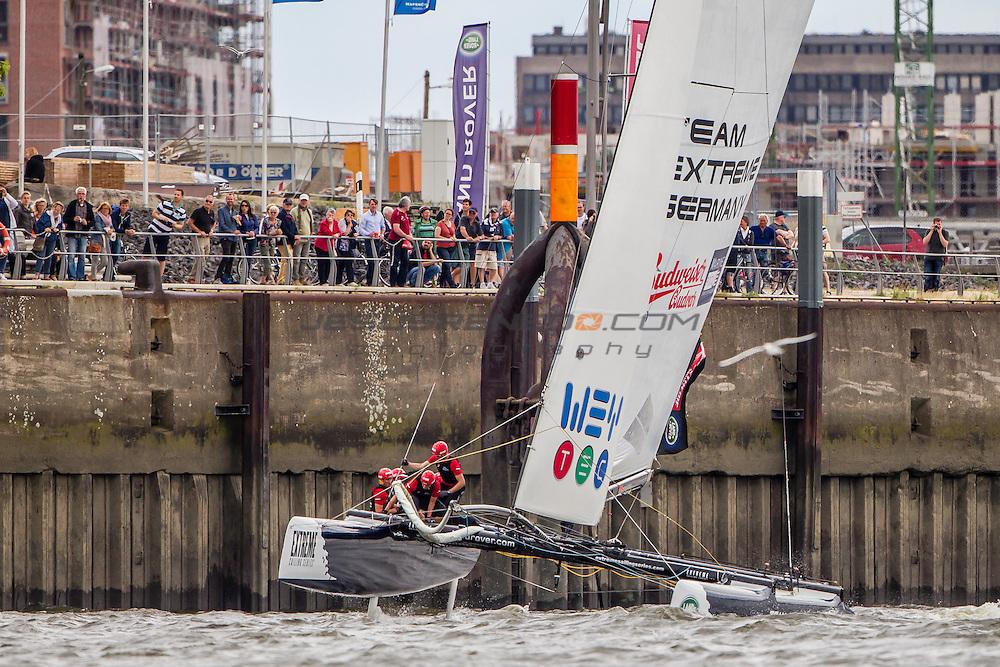 2015 Extreme Sailing Series - Act 5 - Hamburg.<br /> Team Extreme Germany skippered by Paul Kohlhoff (GER) and crewed by Johann Kohlhoff (GER), Peter Kohlhoff (GER), Max Kohlhoff (GER) and Philip Kasueske (DEN)<br /> Credit Jesus Renedo.