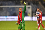 Darren Randolph (23) of Middlesbrough gives the thumbs up to the travelling fans at full time during the EFL Sky Bet Championship match between Queens Park Rangers and Middlesbrough at the Kiyan Prince Foundation Stadium, London, England on 9 November 2019.