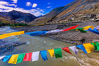 Prayer flags, Shannan Prefecture, Tibet (Xizang), China.