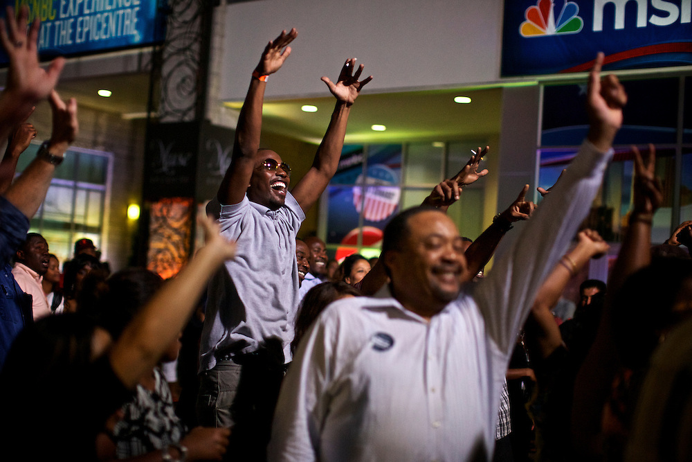 Audience members react as MSNBC analyzes President Barack Obama's speech during a live taping in Charlotte, N.C. during the 2012 Democratic National Convention on Sept. 6, 2012.