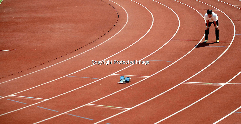 Mar 26, 2008, Shanghai, China, Liu Xiang, world record-holder of 110M hurdles is training for the coming Olmypic Games.