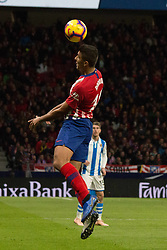 October 27, 2018 - Madrid, Madrid, Spain - Correa (L) head the ball..during the match between Atletico de Madrid vs Real Sociedad. Atletico de Madrid won by 2 to 0 over Real Sociedad whit goals of Godin and Filipe Luis. (Credit Image: © Jorge Gonzalez/Pacific Press via ZUMA Wire)