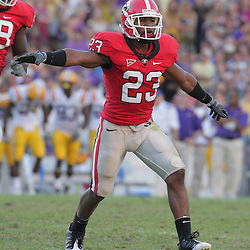25 October 2008:  Georgia cornerback Prince Miller (23) waves his arms to celebrate a missed field goal by LSU during the Georgia Bulldogs versus the LSU Tigers SEC game at Tiger Stadium in Baton Rouge, LA.