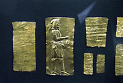 Oxus Treasure: Gold Achaemenid Persian metalwork 5th-4th centuries BC discovered on banks of Oxus River (Amu Darya) in Katanga province of Afghanistan, once part of Bactria.male figure in profile. Colour