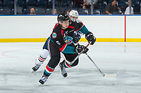 KELOWNA, CANADA - SEPTEMBER 5: Scott Mahovlich #12 of the Kamloops Blazers back checks Kaeden Korczak #6 of the Kelowna Rockets on September 5, 2017 at Prospera Place in Kelowna, British Columbia, Canada.  (Photo by Marissa Baecker/Shoot the Breeze)  *** Local Caption ***