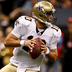 August 21, 2010; New Orleans, LA, USA; New Orleans Saints quarterback Chase Daniel (10) looks to pass during the second half of a 38-20 win by the New Orleans Saints over the Houston Texans during a preseason game at the Louisiana Superdome. Mandatory Credit: Derick E. Hingle