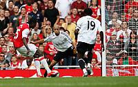 Photo: Steve Bond.<br />Arsenal v Derby County. The FA Barclays Premiership. 22/09/2007. Emmanuel Adebayor slots home and completes his hat trick