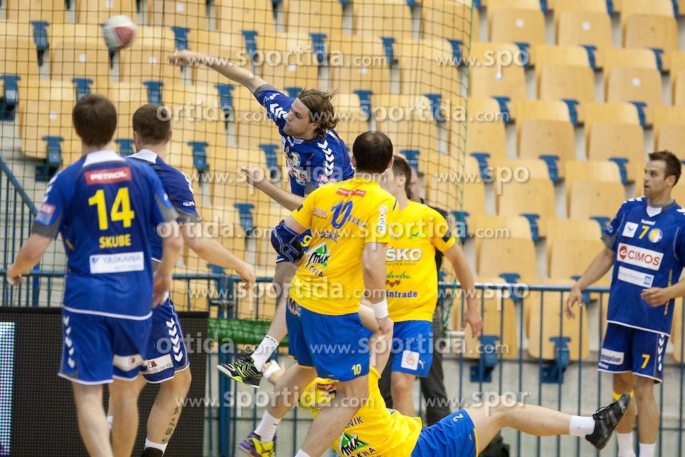Dean Bombac of Cimos during handball match between RK Celje Pivovarna Lasko vs RK Cimos Koper in 9th Round of 1st NLB Leasing Champions league 2011/12, on May 19, 2012 in Arena Zlatorog, Celje, Slovenia. (Photo by Urban Urbanc / Sportida.com)