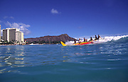 Outrigger Canoe Surfing, Waikiki Beach, Waikiki, Oahu, Hawaii, USA<br />
