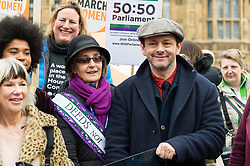 © Licensed to London News Pictures. 04/03/2018. London, UK. HELEN PANKHURST and MICHAEL SHEEN take part in the #March4Women rally calling for gender equality. Photo credit: Ray Tang/LNP