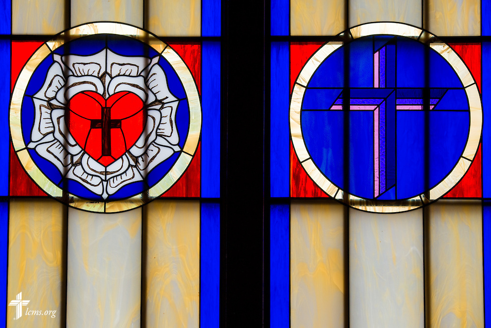 The Martin Luther seal and LCMS triple cross in the stained glass of El Calvario Lutheran Church on Sunday, April 17, 2016, in Brownsville, Texas. LCMS Communications/Erik M. Lunsford