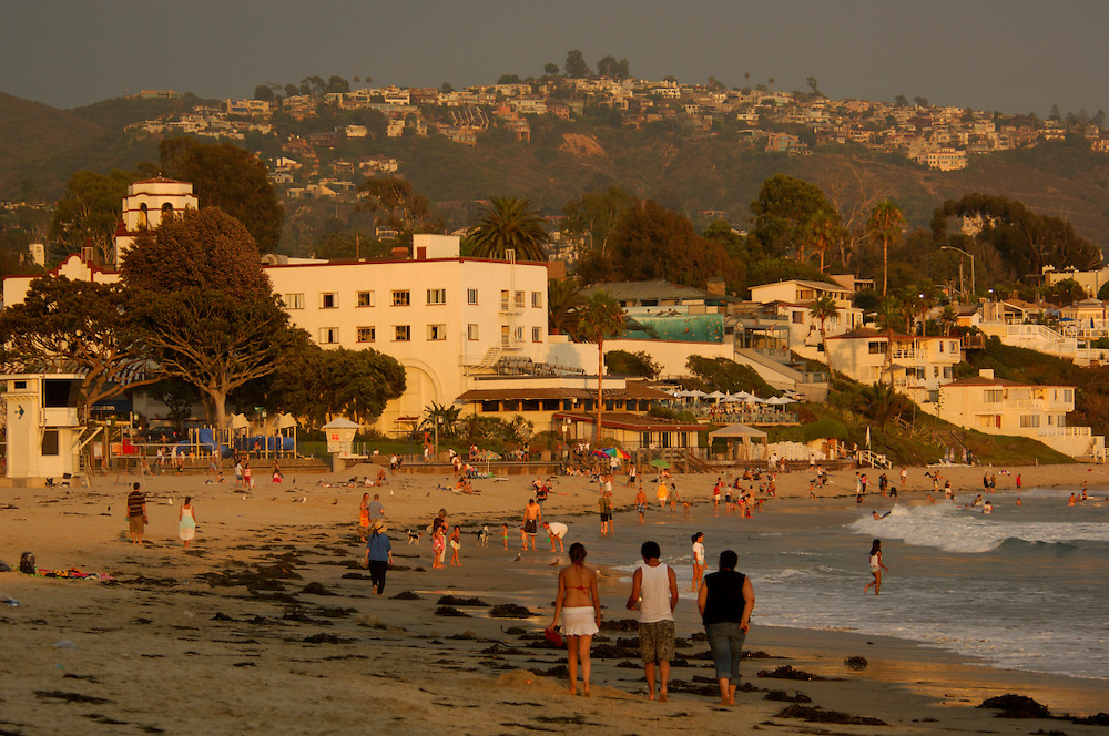 People on Sandy Beach, Laguna Beach, California, United States of America